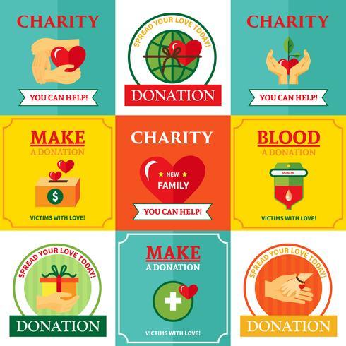 Charity Emblems Design Flat Icons Sammansättning vektor