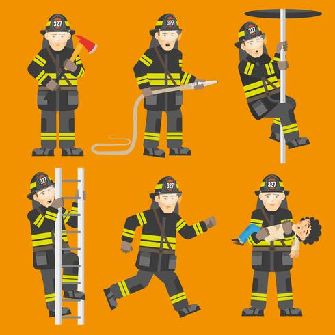Feuerwehrmann in Aktion 6 Figuren gesetzt vektor