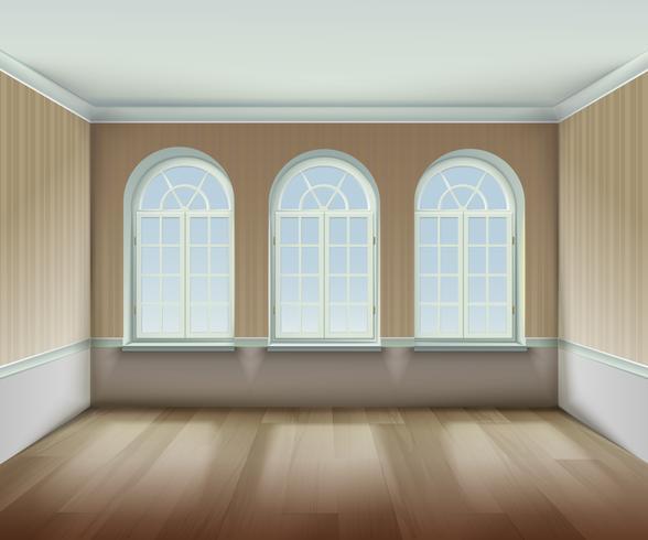 Raum mit gewölbter Windows-Illustration vektor