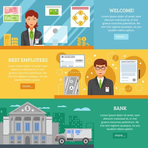 Banktjänster Horisontella Banderoller vektor