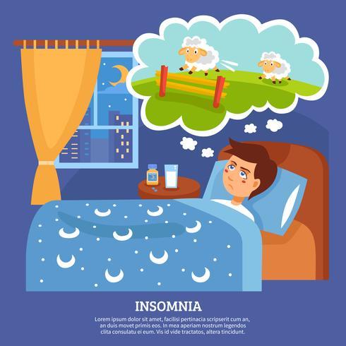 Sömnlöshet Människor Problem Flat Poster vektor