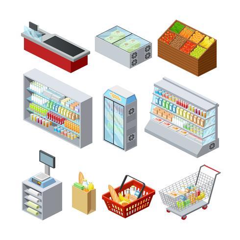 Isometrische Supermarkt Icons Set vektor