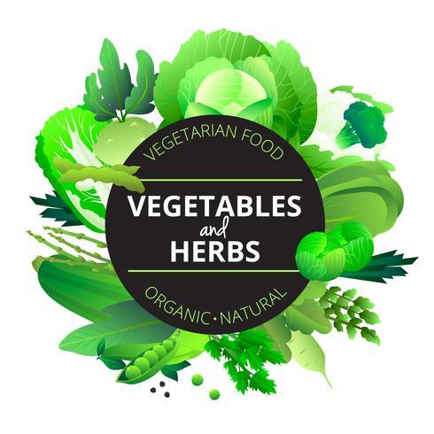 Gemüse Kräuter runder grüner Rahmen vektor