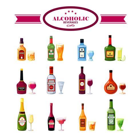 Alkoholhaltiga drycker Drinkar Platta ikoner Set vektor