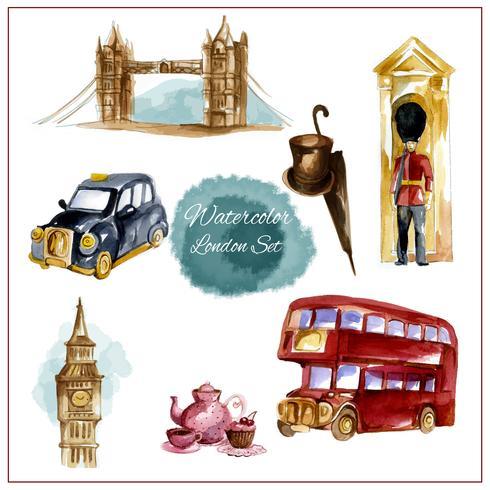 Akvarell London Set vektor