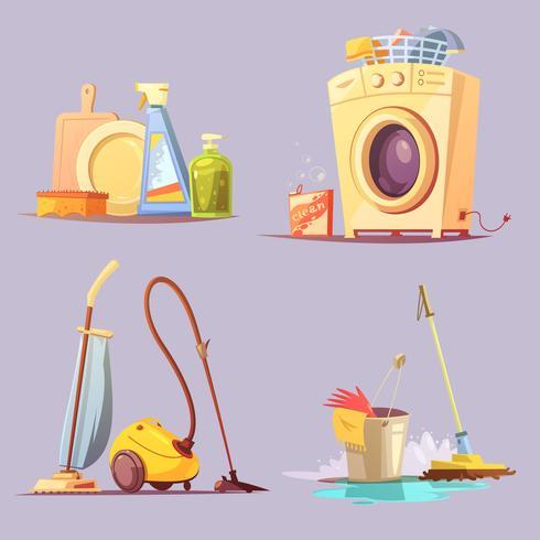 Reinigungsservice 4 Cartoon-Ionen-Set vektor
