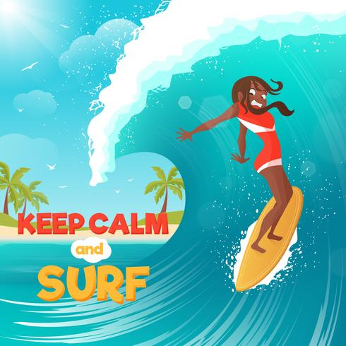 Sommerferien, die flaches buntes Plakat surfen vektor
