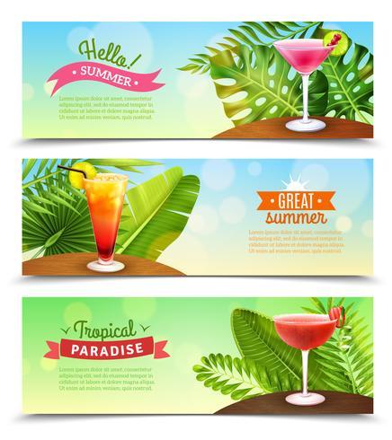 Tropiska Paradise Vacations 3 Banners Set vektor