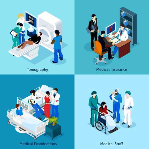 Beziehung zwischen Arzt und Patienten Icon Set vektor