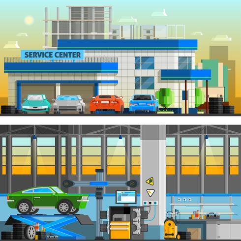 Auto Service Flat Horisontala Banderoller vektor