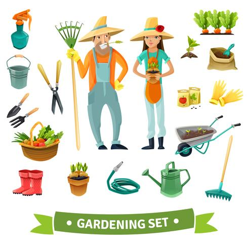 gardening tecknad set vektor