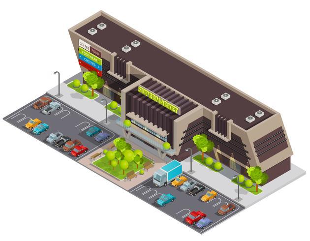 Shopping Center Mall Komplex isometrisk sammansättning vektor