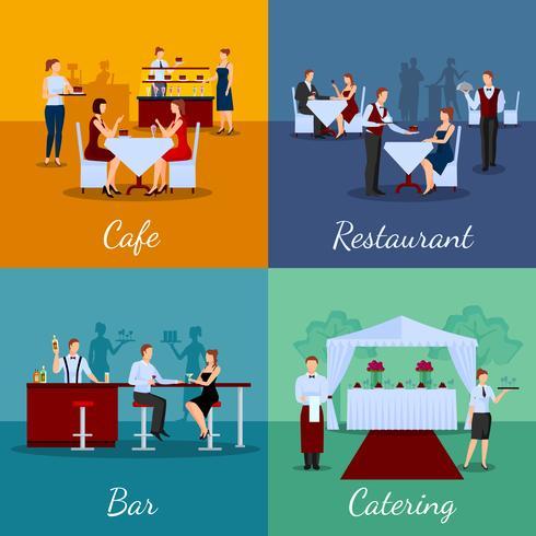 Catering-Konzept Icons Set vektor