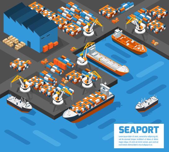 Seehafen-isometrisches Luftaufnahme-Plakat vektor