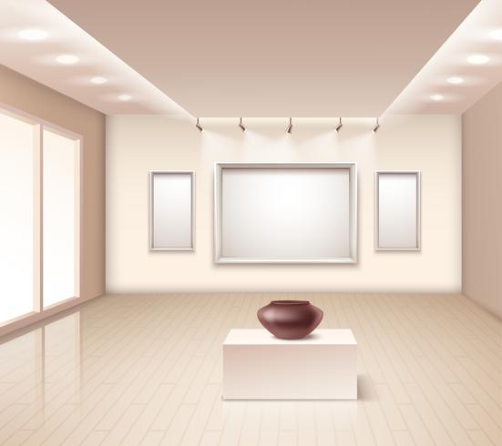 Ausstellungsgalerie Innenraum mit brauner Vase vektor