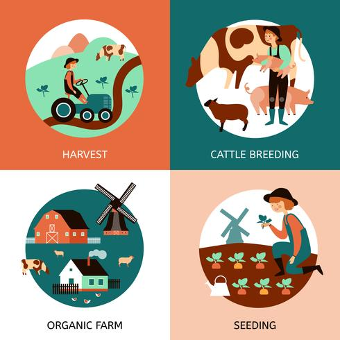 Organic Farm 4 Flat Icons Banner vektor