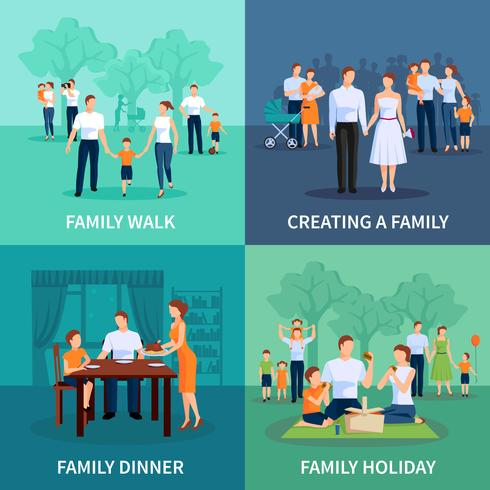 Familienkonzept-Ikonen eingestellt vektor