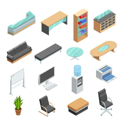 Isometrische Ikonen der Büromöbel eingestellt vektor