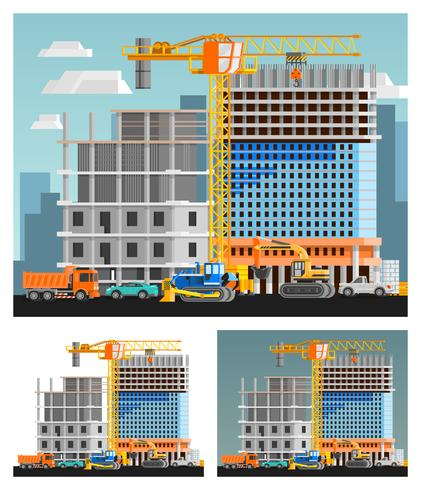 Konstruktion och stadskompositioner Set vektor