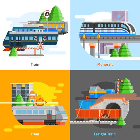 järnvägstransport 2x2 designkoncept vektor