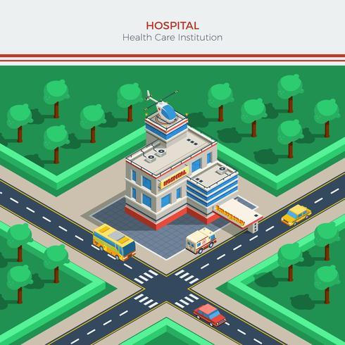 Isometric City Constructor Med Sjukhusbyggnad vektor