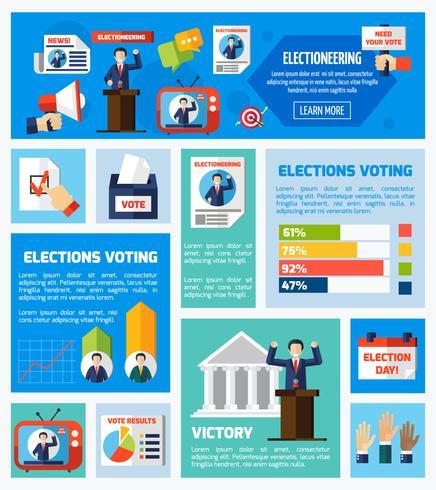 Wahlen und Abstimmung Flat Collection vektor