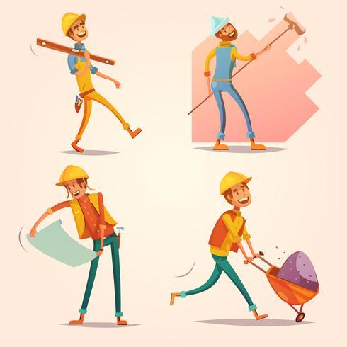 Konstruktionsbyggare Retro tecknad ikoner Set vektor