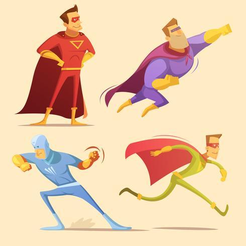 superhero tecknad set vektor