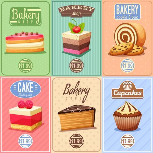 Cakes and Sweets Mini Posters Samling vektor