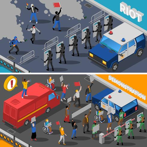 Demonstration Protest Riot 2 Isometric Banners vektor
