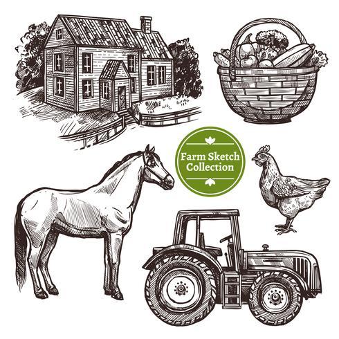 Bauernhof Hand gezeichnete Skizze Set vektor