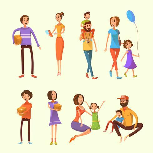 Familien-Cartoon-Set vektor