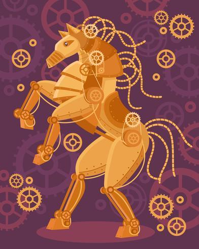Steampunk Golden Horse Poster vektor