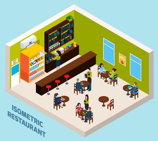 Restaurang Bar Inredning Isometrisk Sammansättning Poster vektor
