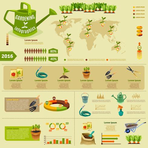 Gartenarbeit Infographik Layout vektor