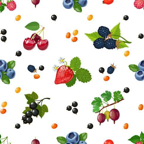 Nahtloses buntes Muster der frischen Beeren vektor