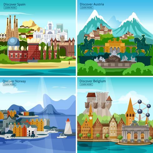 europeiska turistiska ikonuppsättning vektor