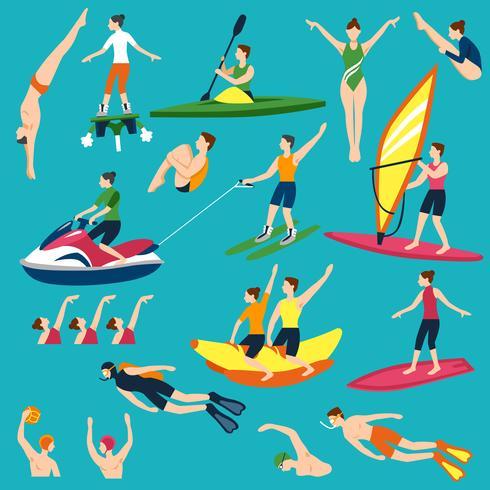 Wassersport und Aktivitäten eingestellt vektor