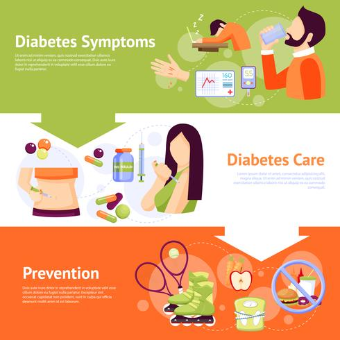 Diabetes Symptom 3 Flat Banners Set vektor