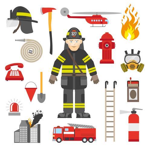 Feuerwehrmann-Berufsausrüstungs-flache Ikonen-Sammlung vektor