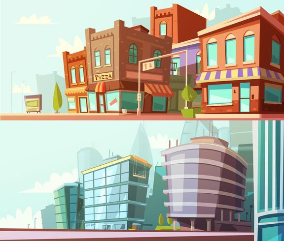 City Skyline 2 Horisontell Banners Set vektor