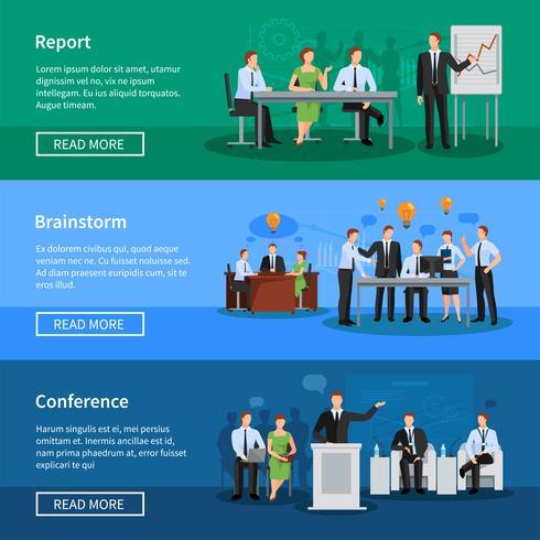 Människor som har konferens- och mötesbanners vektor