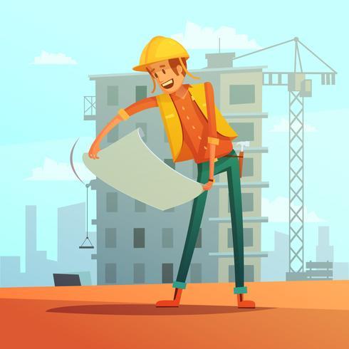 Builder Cartoon Illustration vektor