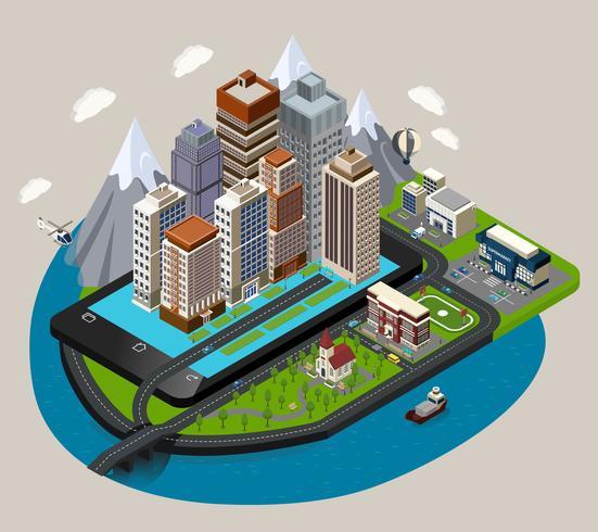 Isometrische Mobile City Konzept vektor