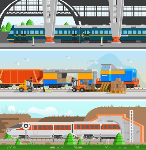 Rail Transport Horisontella Flat Banners vektor