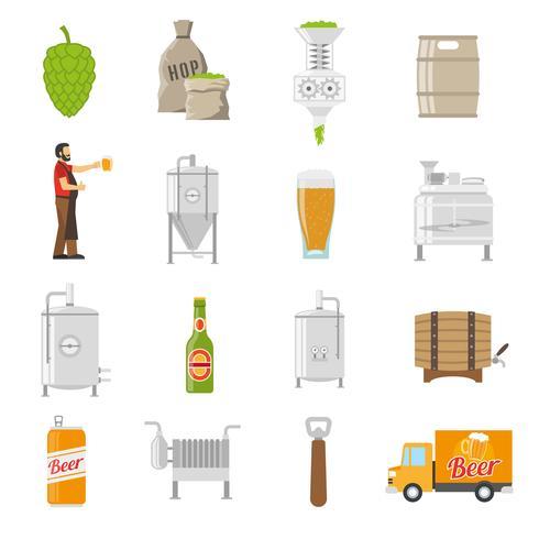 bryggeri ikoner uppsättning vektor