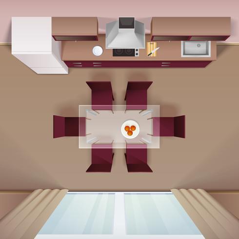 Modern Kitchen Top View Realistic Image vektor