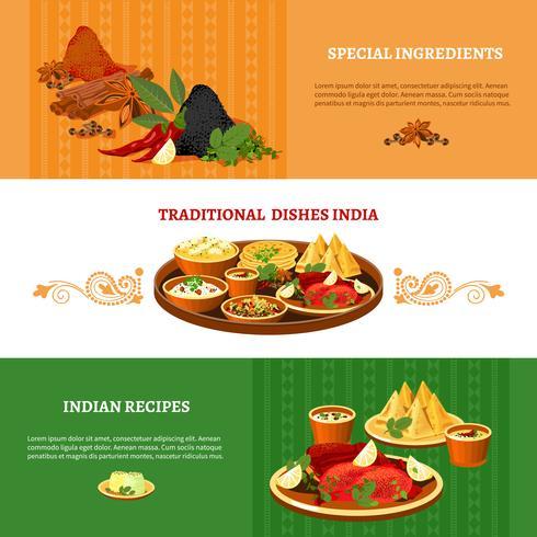 Indisk Cuisine 3 Flat Banners Set vektor