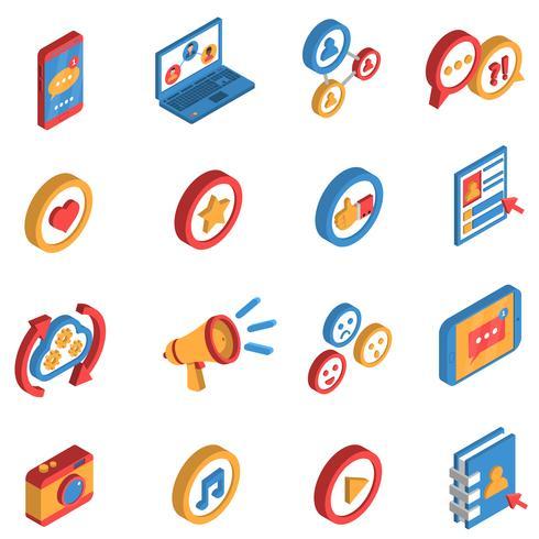 Socialt nätverk Isometrisk ikonuppsättning vektor