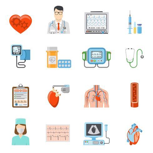 Kardiologiska platta ikoner vektor